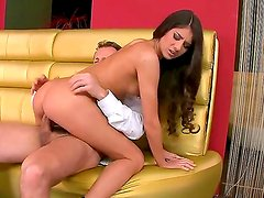 Sweet and sexy brunette Nessa Shine gets a sweet sperm on her pretty face