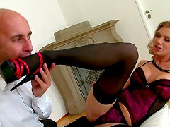 Glamour blonde and her slave