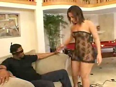 Black guy bound and blindfolded gets blown