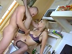 Nailing hot cardigan girl in the kitchen