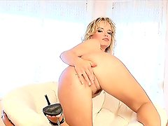 Sweet sexy blonde Peach adores her juicy pussy exhaustion with fingers and dildos!