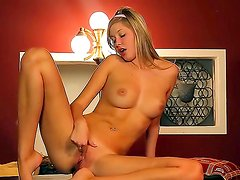 Young petite whore Barbie exhausts her tight juicy pussy with fingers!
