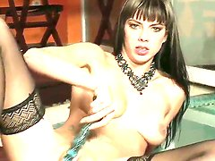 Naughty Mellie plays with her pussy and fucks her juicy hole with sex toy!