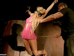 Blonde Gets Hogtied And Tortured Until She Cums