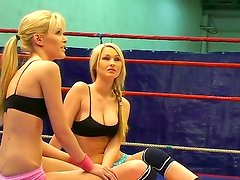 Blonde sex bombs Antonya and Sophie Moone become wild at the ring on the way to domination