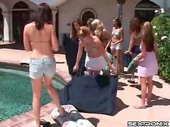 Lesbian bikini party with lots of pussy eating
