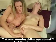 Lesbian threesome sex orgy with girls toying and licking pussy on bed