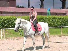 Buxom sex goddess Aletta Ocean enjoys to ride dicks, but today she rides a horse