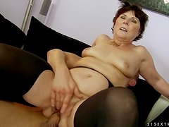Margo T. moans loudly while getting her old pussy toyed and fucked