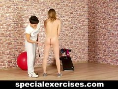 Sexy teen gets nude sport training