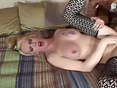 Blonde shemale with monster cock getting fucked in the ass
