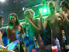 Crazy Beautiful Topless Girls Go Wild in the Strip Club