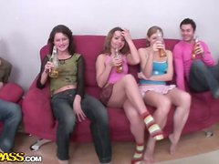 Great Foursome with Two Beautiful Drunkern Sluts on the Couch