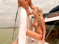 Luxury buxom bitch Donna Bell services her rich client at this private yacht