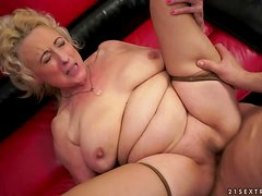 Nasty granny Sila gets her old snatch fucked and creampied