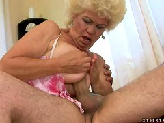 Effie gives a blowjob and a titjob and gets her old pussy pounded hard