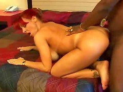 Married woman rides black cock in hotel room