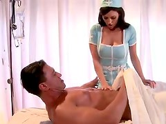 Busty nurse Dylan Ryder gives a titjob