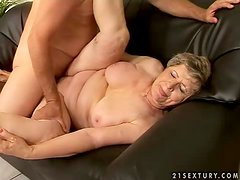 Big-assed granny Elizabet gets her pussy toyed and pounded