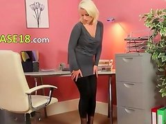 Exclusive blonde glamour in office