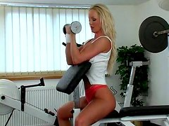 Solo Pleasure for Silvia Saint in the Gym with a Dildo