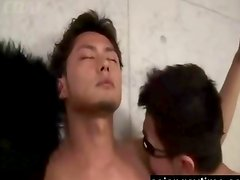 Japanese gays plays fetish and a vibrator