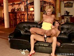 Mature lesbian Yda gets her pussy licked and fucked with a strap on