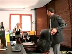Secretary in satin fools around with her boss