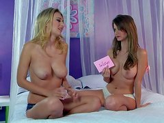 Busty blonde Emily Addison enjoys in giving an interview on