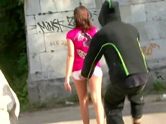 Sexy beauty is getting street upskirt on the spy cam