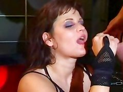 Kamy Andrews gets her face drenched with thick cum