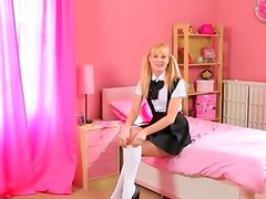 Blonde with pigtails finger for a cam