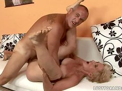 Blonde granny Viviana gets her hairy pussy fingered and fucked