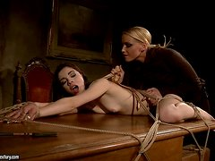 Mistress Kathia clips the vagina lips of Jeanine