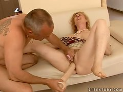 Blonde mature slut Maria gets her pussy toyed, fisted and fucked