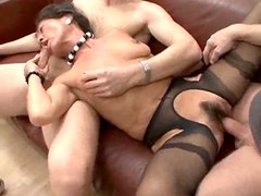 Russian Mature woman sucks two dicks and gets pounded
