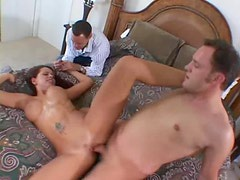 Hubby watches his busty wife get nailed