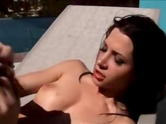 Pretty girl on the pool deck suck and fuck