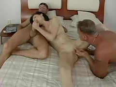Gorgeous skinny woman fucked in threesome