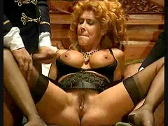 Curly hair and corset slut fucked in retro movie