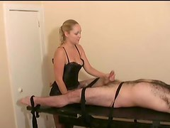 Sexy blonde in lingerie gives little cock a handjob