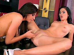 Sweet Bambi and Alma Blue are releasing their pent up lust for each other at the office