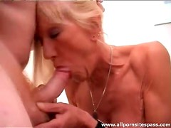 He fucks the mature cocksucker from behind