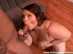 Fat chick polishes the knob of a black guy