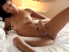 Erotic masturbation with a young shaved beauty