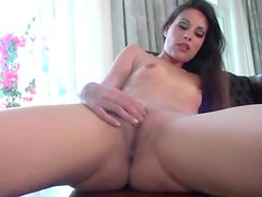 Skinny and solo in heels to show her pussy