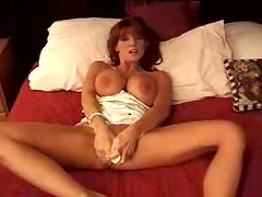 Milf redhead in white satin lingerie toys cunt