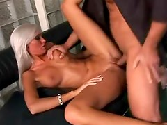 White hair Euro slut with big tits fucked