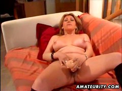 Busty mature amateur wife toying her ass and pussy with sextoys