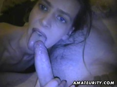 Amateur girlfriend homemade blowjob with cum in mouth